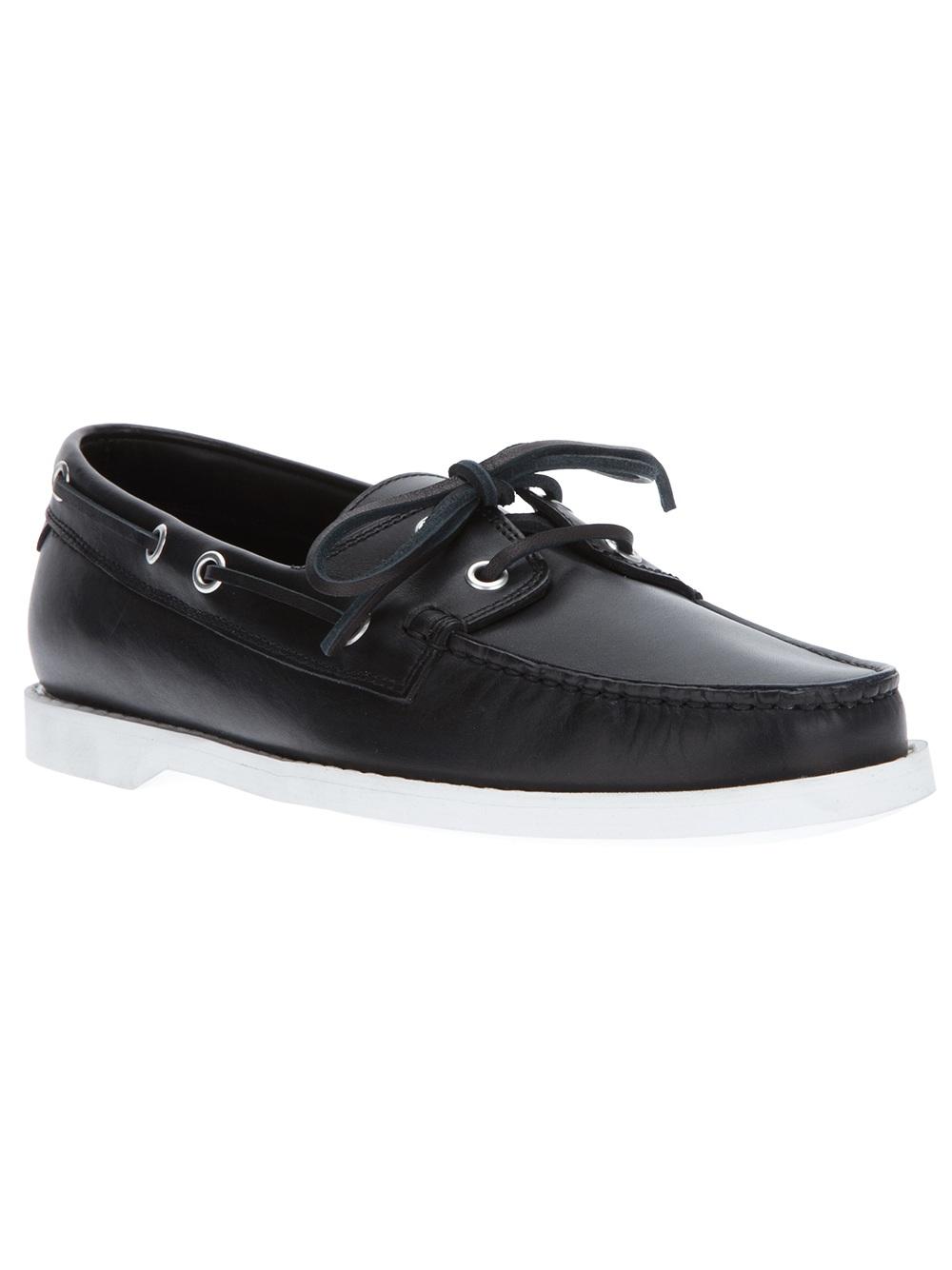 Lyst Saint Laurent Deck Shoe In Black For Men