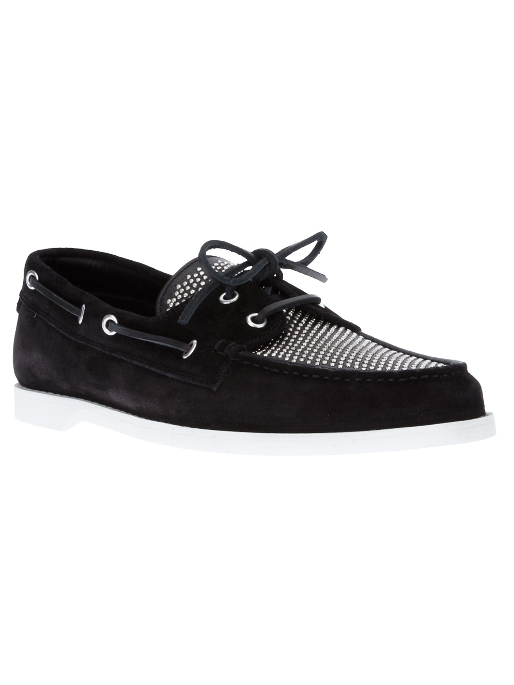 laurent studded deck shoe in black for lyst