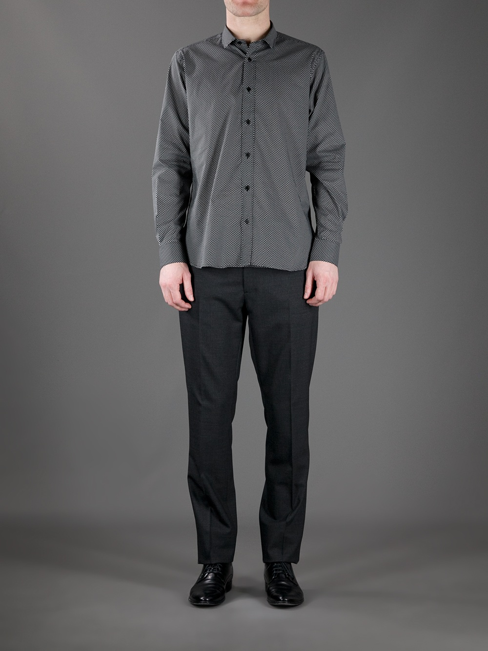 Lyst saint laurent micro check shirt in gray for men for Saint laurent check shirt