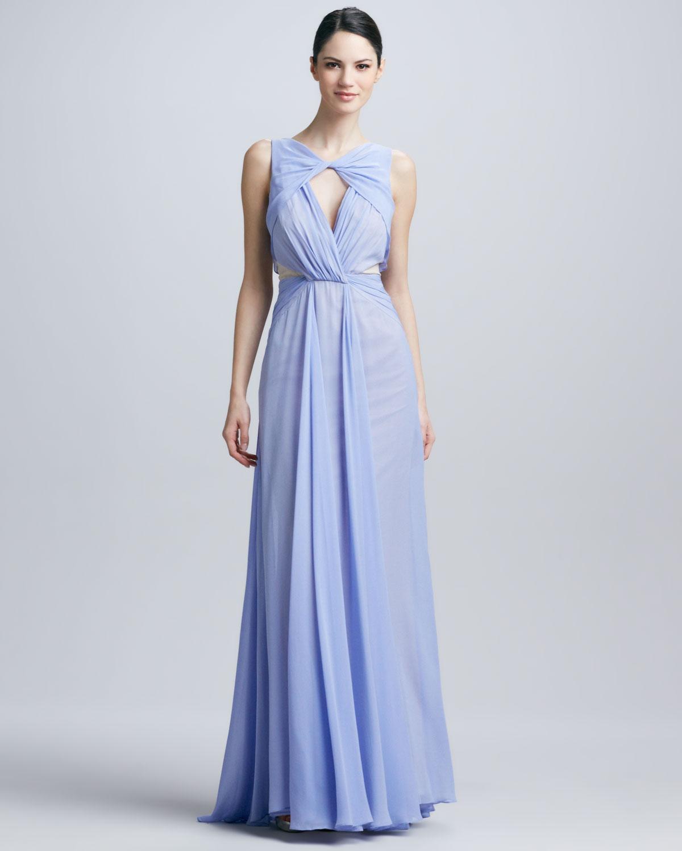 Lyst - Badgley Mischka Sleeveless Triangle Neck Gown in Purple