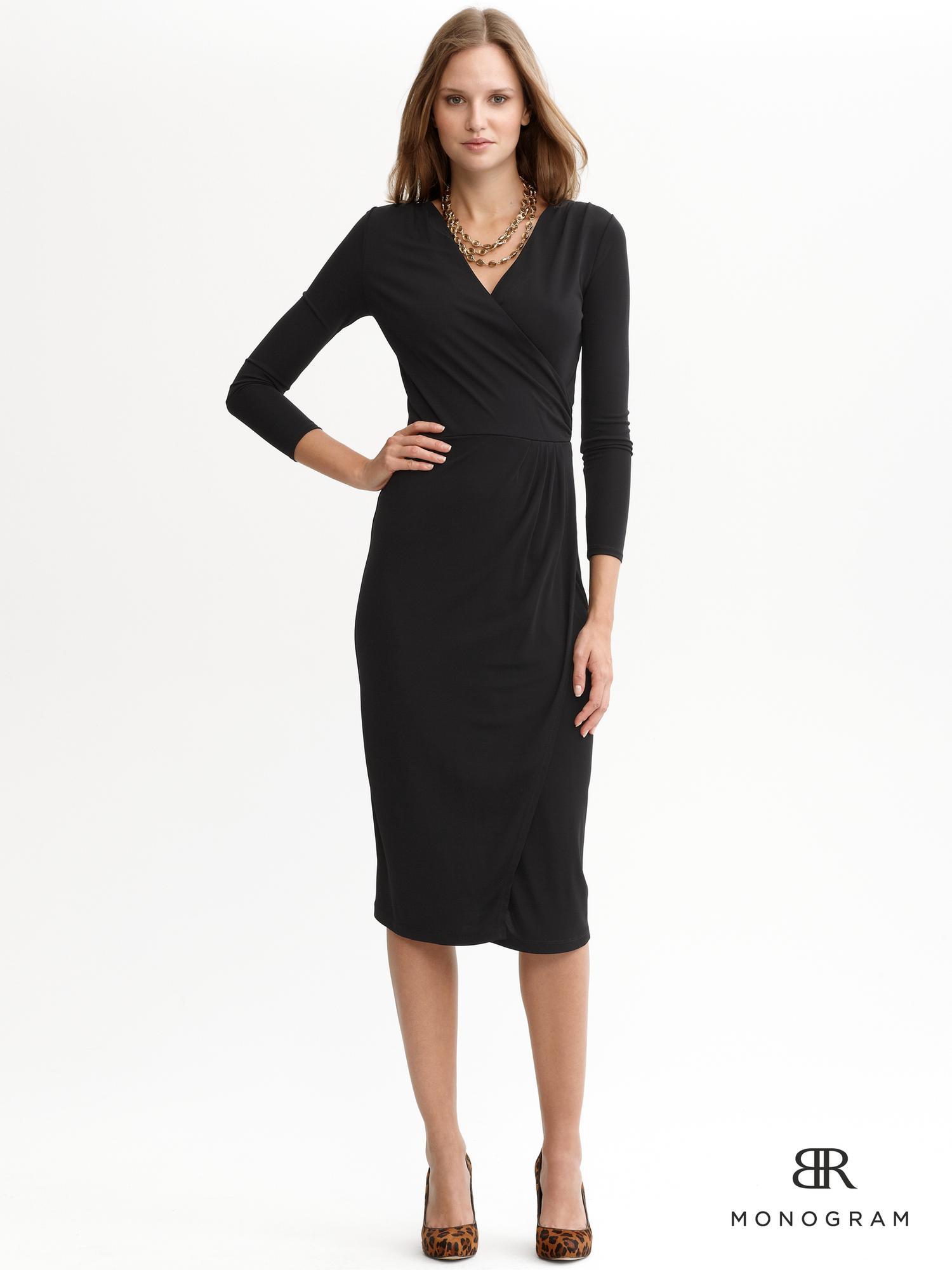Banana Republic Monogram Knit Faux Wrap Dress In Black Lyst