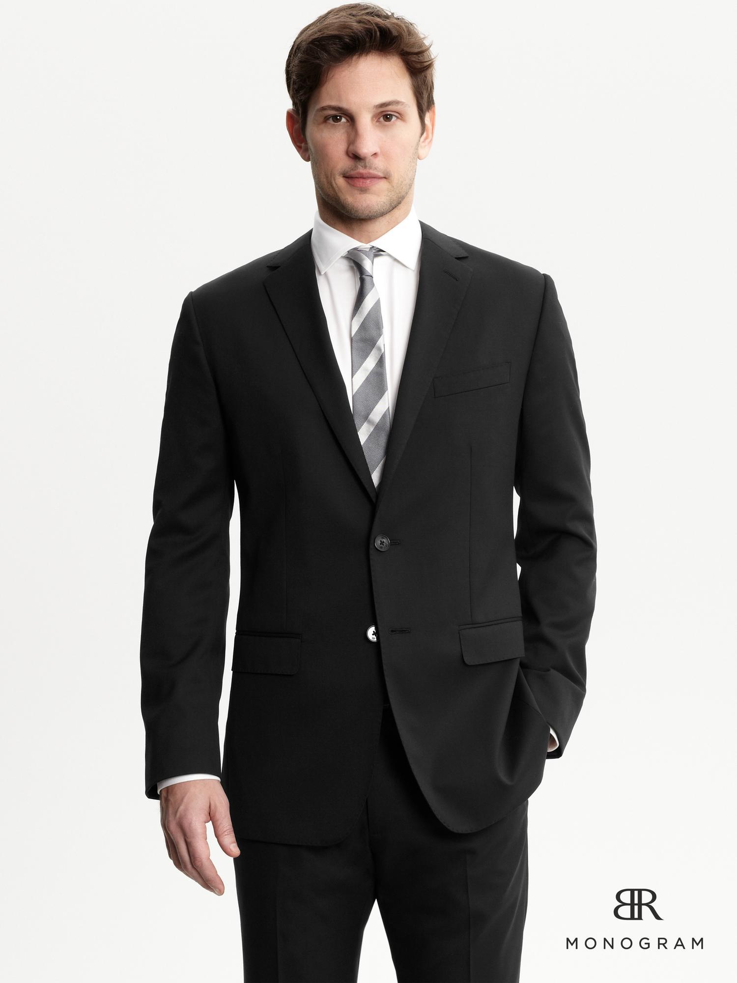 banana republic br monogram black italian wool suit jacket in black for men