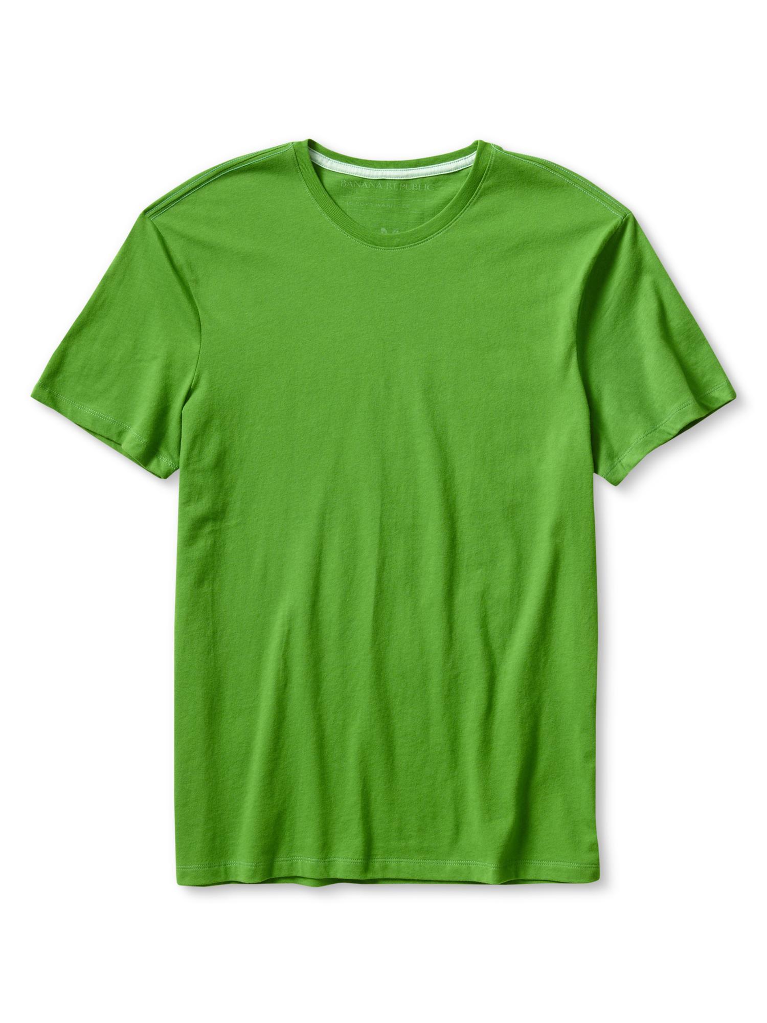 Banana republic soft wash cotton t shirt in green for men for Soft cotton dress shirts