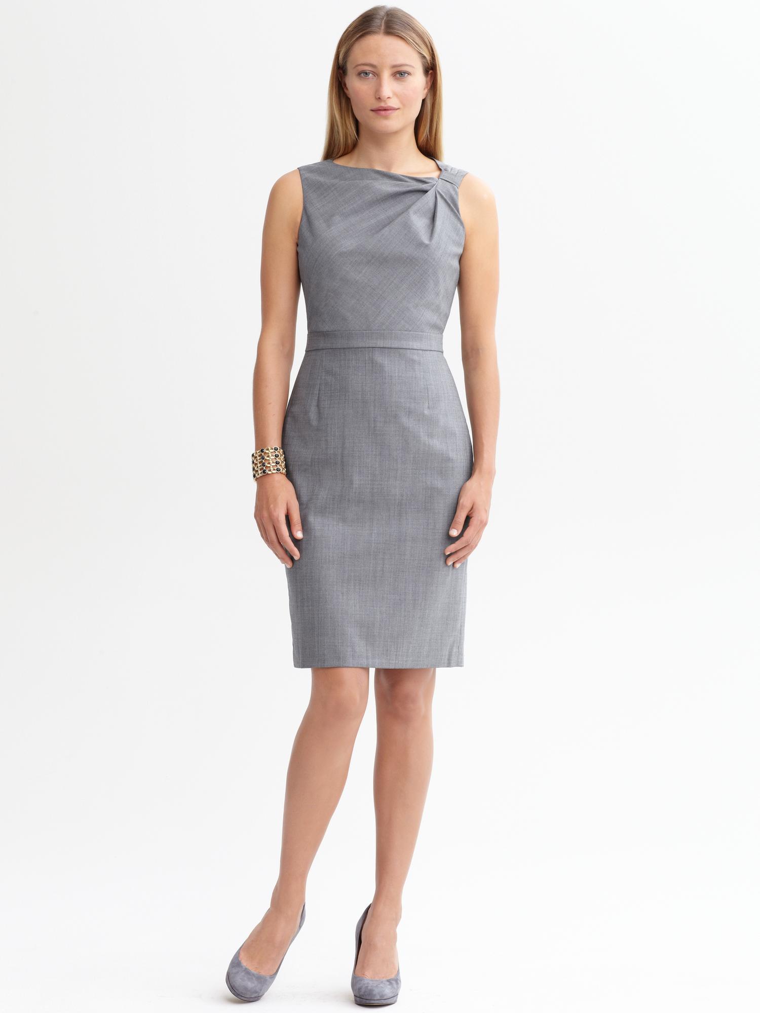 Banana Republic Evelyn Light Weight Wool Dress In Grey