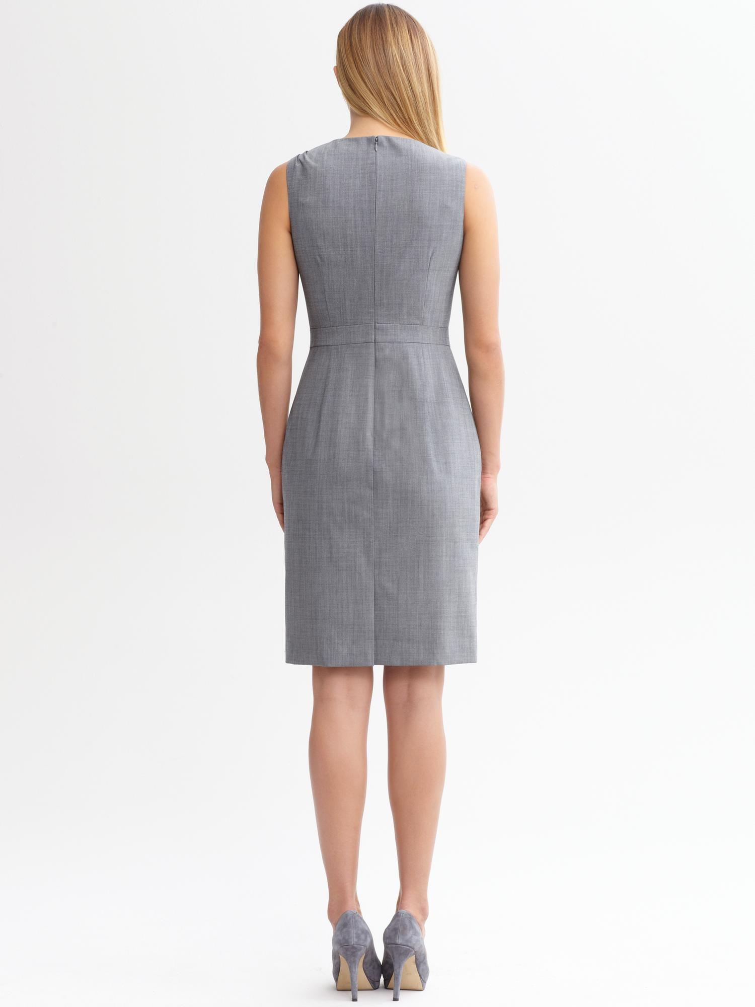Banana Republic Evelyn Light Weight Wool Dress In Grey