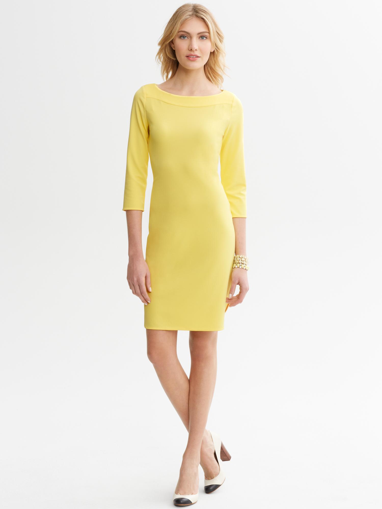 Banana Republic Open Back Dress In Yellow Lyst