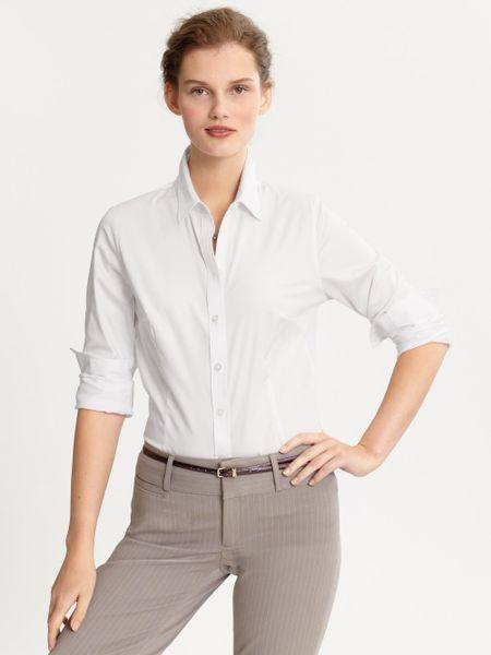 Banana Republic Tailored Non Iron Sateen Shirt In White Lyst