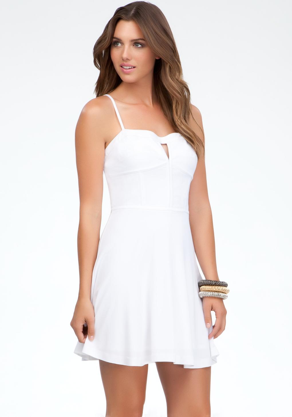 Bebe Fit Flare Bustier Dress In White Lyst