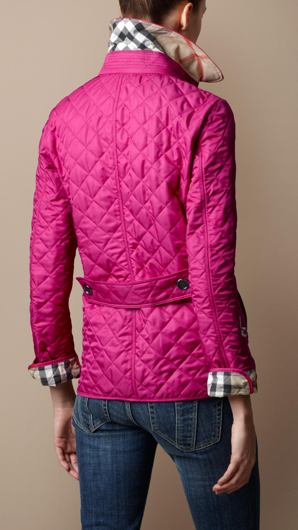 Burberry brit Cinched Waist Quilted Jacket in Pink | Lyst