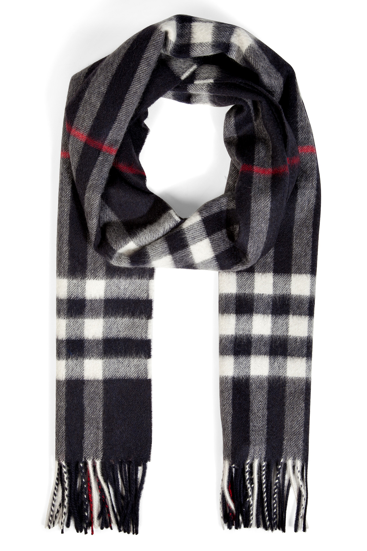 burberry check scarf in navy in black for