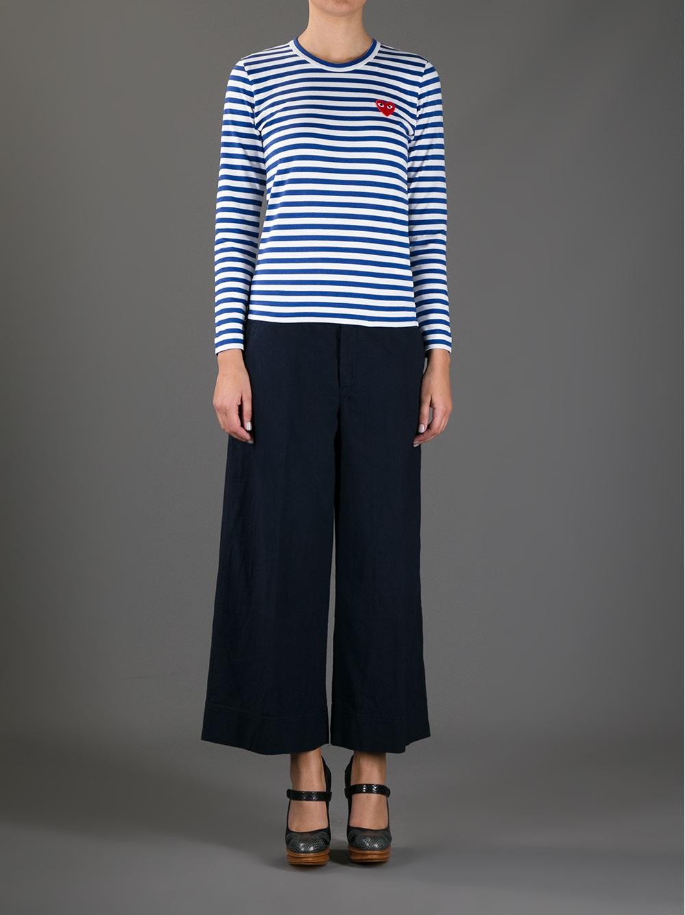 Lyst - Comme des Garçons Long Sleeve Striped Tshirt in Blue 82c44c69a