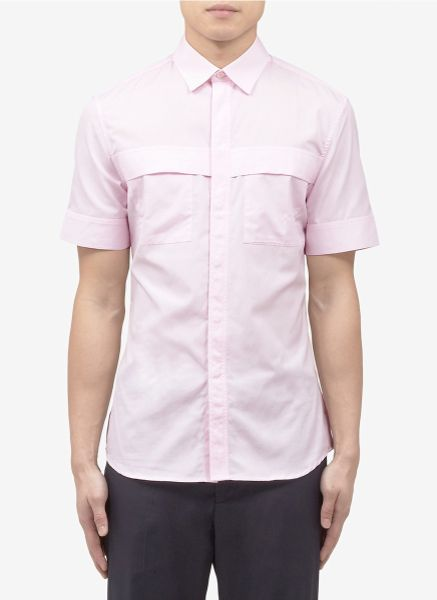 Givenchy double chest pocket short sleeve shirt in pink for Mens double pocket short sleeve shirts