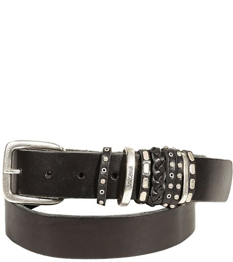 roberto cavalli leather studded belt in black for