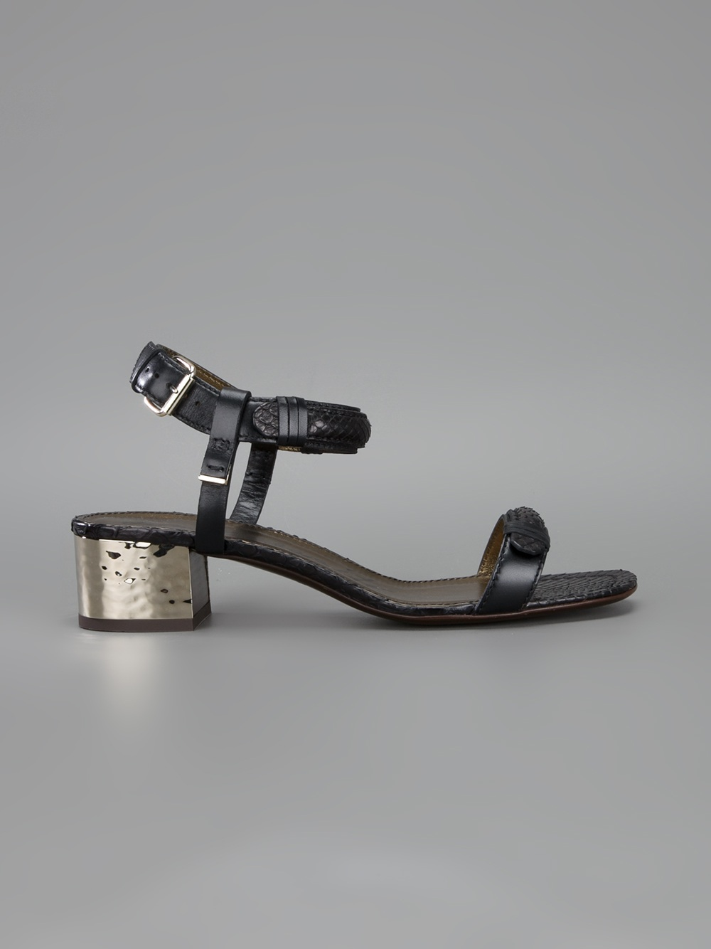 Lyst Lanvin Block Heel Sandal In Metallic
