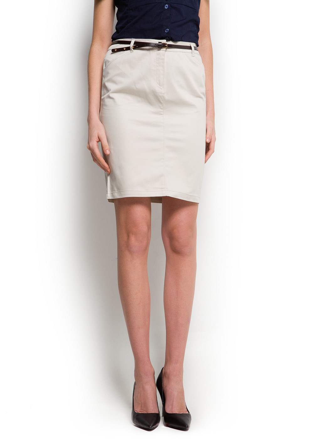 2c85090e2 Mango Pencil Skirt with Belt in Natural - Lyst