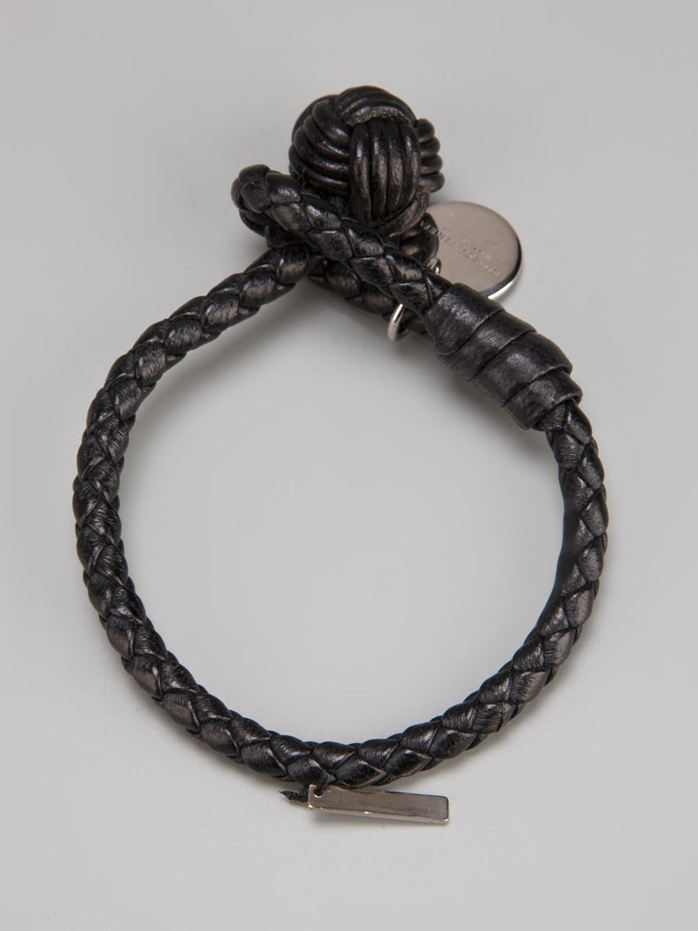 9ad80c28602c1 Bottega Veneta Black Woven Leather Bracelet for men