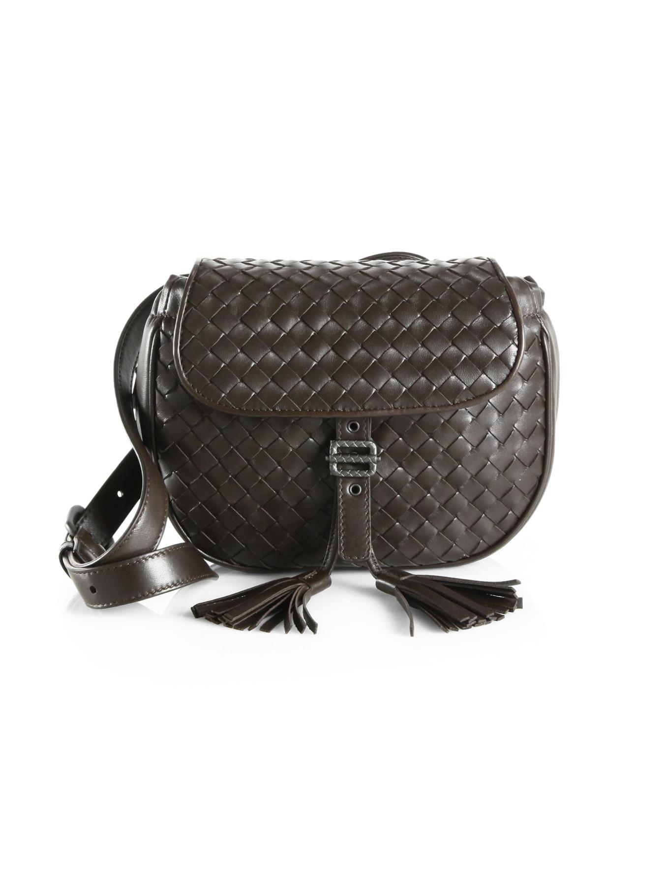c76491bad551 Lyst - Bottega Veneta Small Woven Belt Bag in Brown