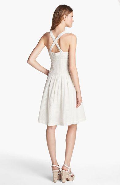 Calvin Klein Eyelet Fit Flare Dress In White Lyst