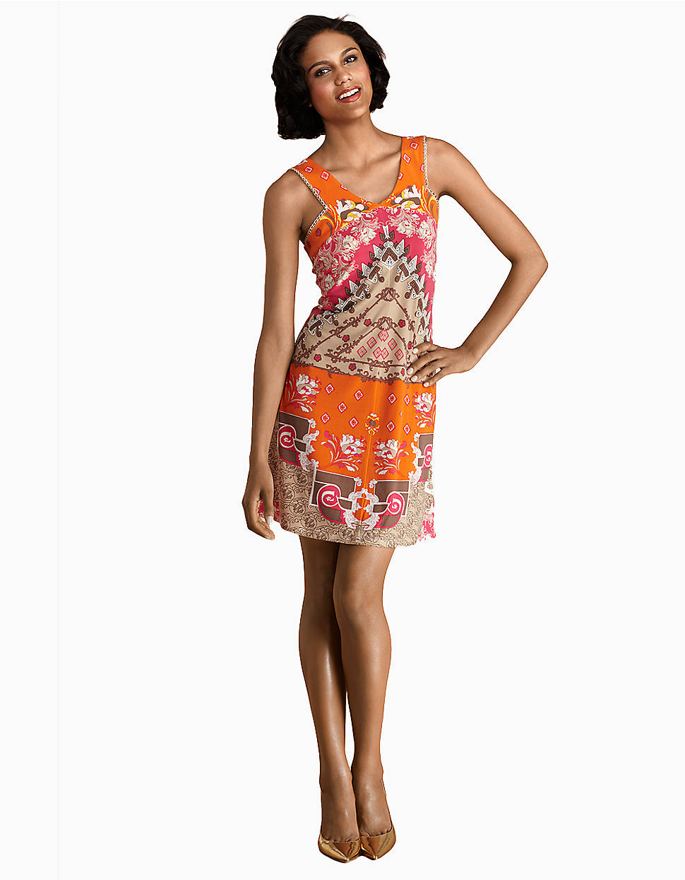 Donna Morgan Printed Matte Jersey Dress With Chain