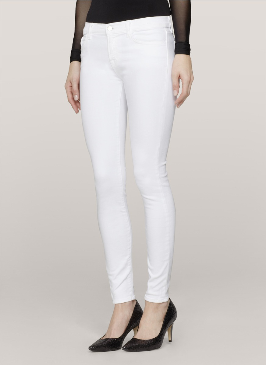 J brand Super Skinny Jeans in White | Lyst
