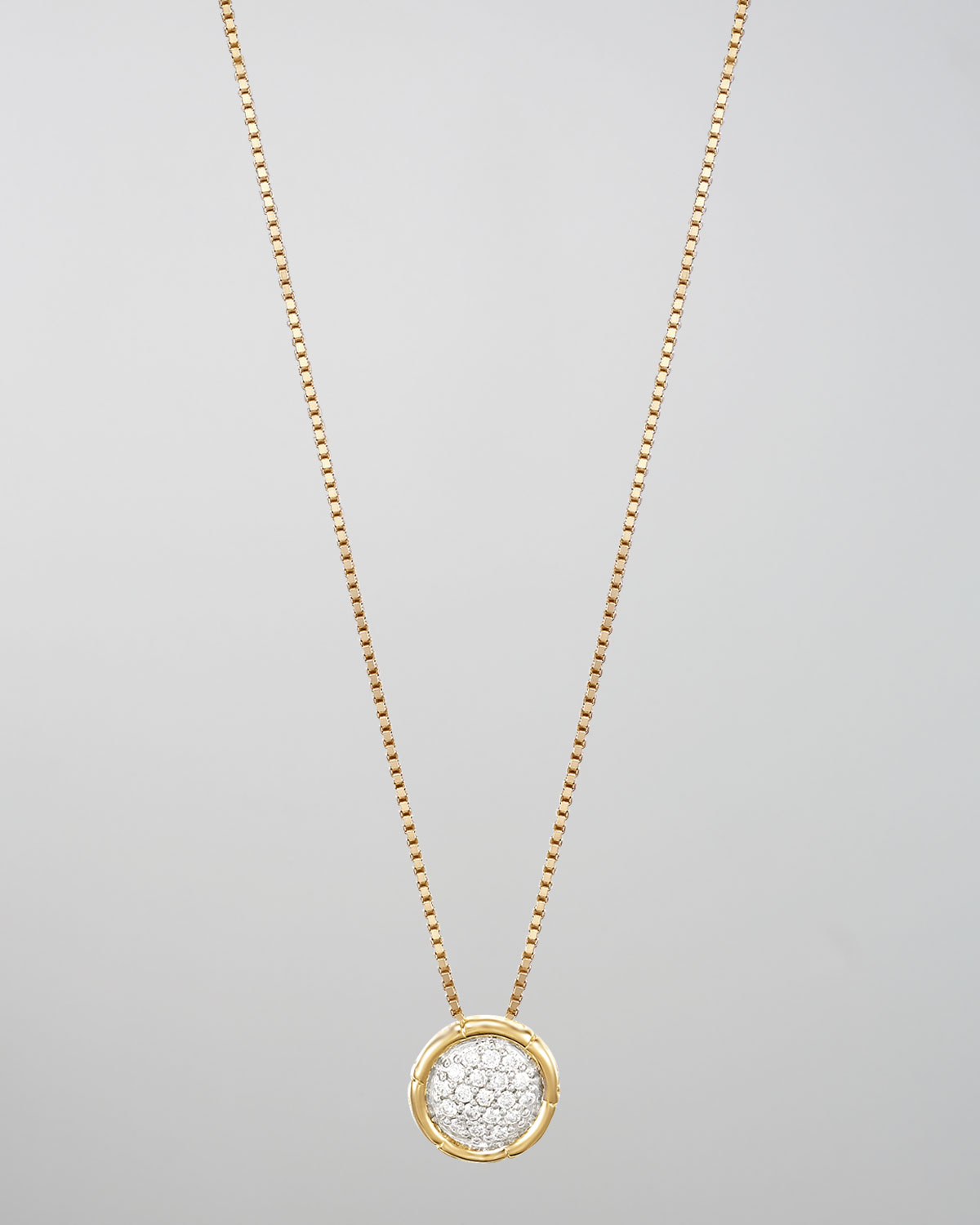 Lyst john hardy bamboo 18k gold pave diamond small round pendant gallery aloadofball Image collections