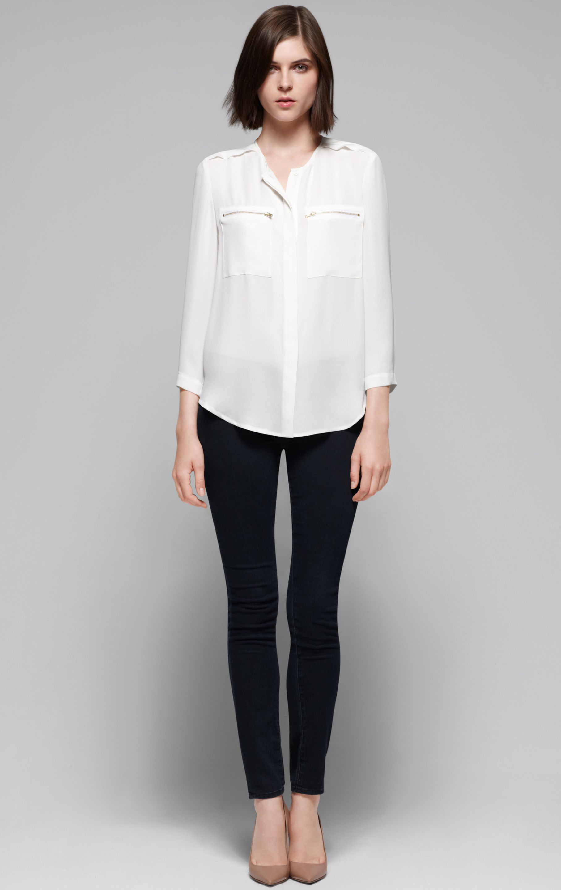 Lyst - Theory Brundia Silk Blouse in White