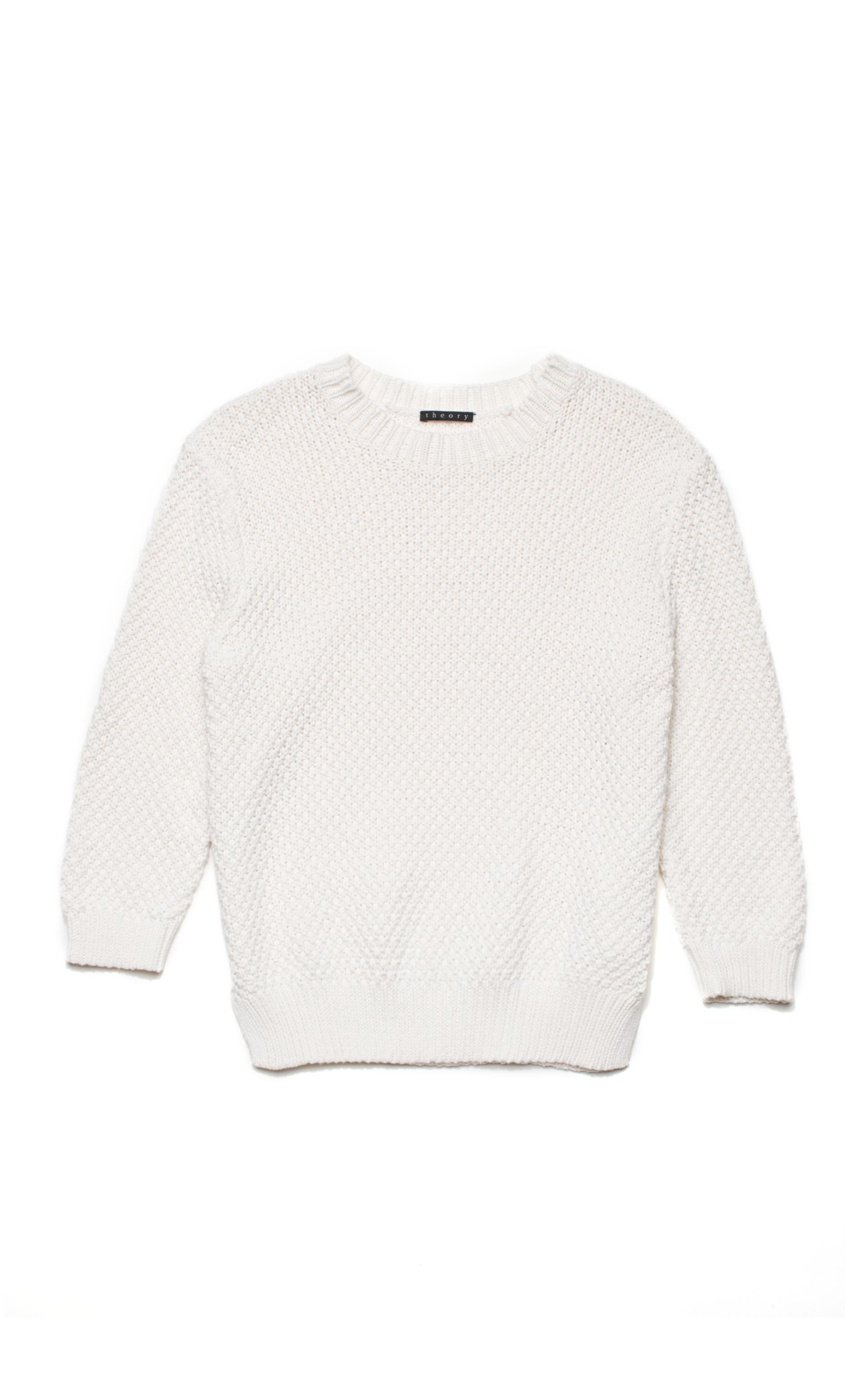 Theory Rainee Cotton Cashmere Sweater in White | Lyst