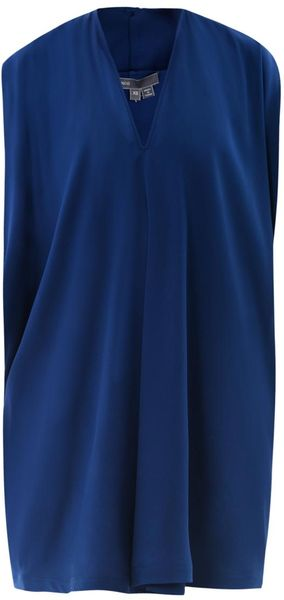 Vince Double Vneck Silk Dress in Blue (navy)