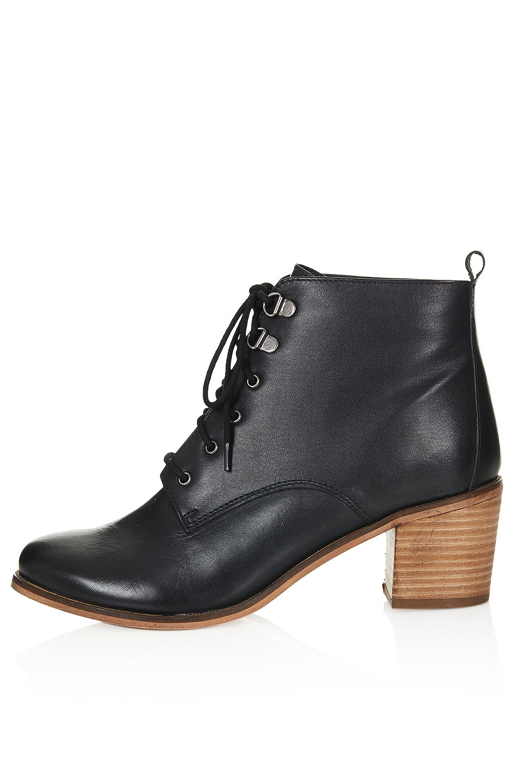 Lyst Topshop Stack Heel Boots In Black