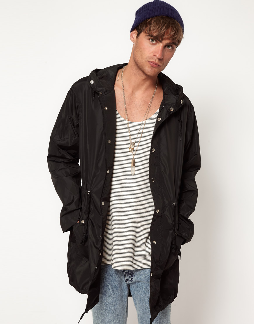 American apparel Parka Jacket in Black for Men | Lyst