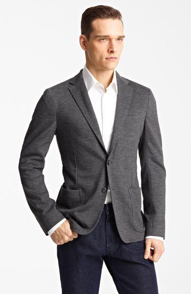Armani Linea Jersey Wool Sport Coat In Gray For Men Solid