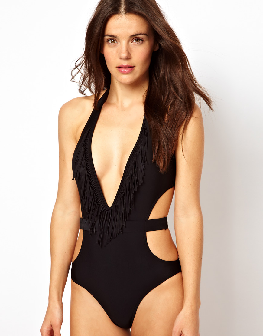 Lyst - Asos Fringed Cut Out One Piece with Belt Detail in Black
