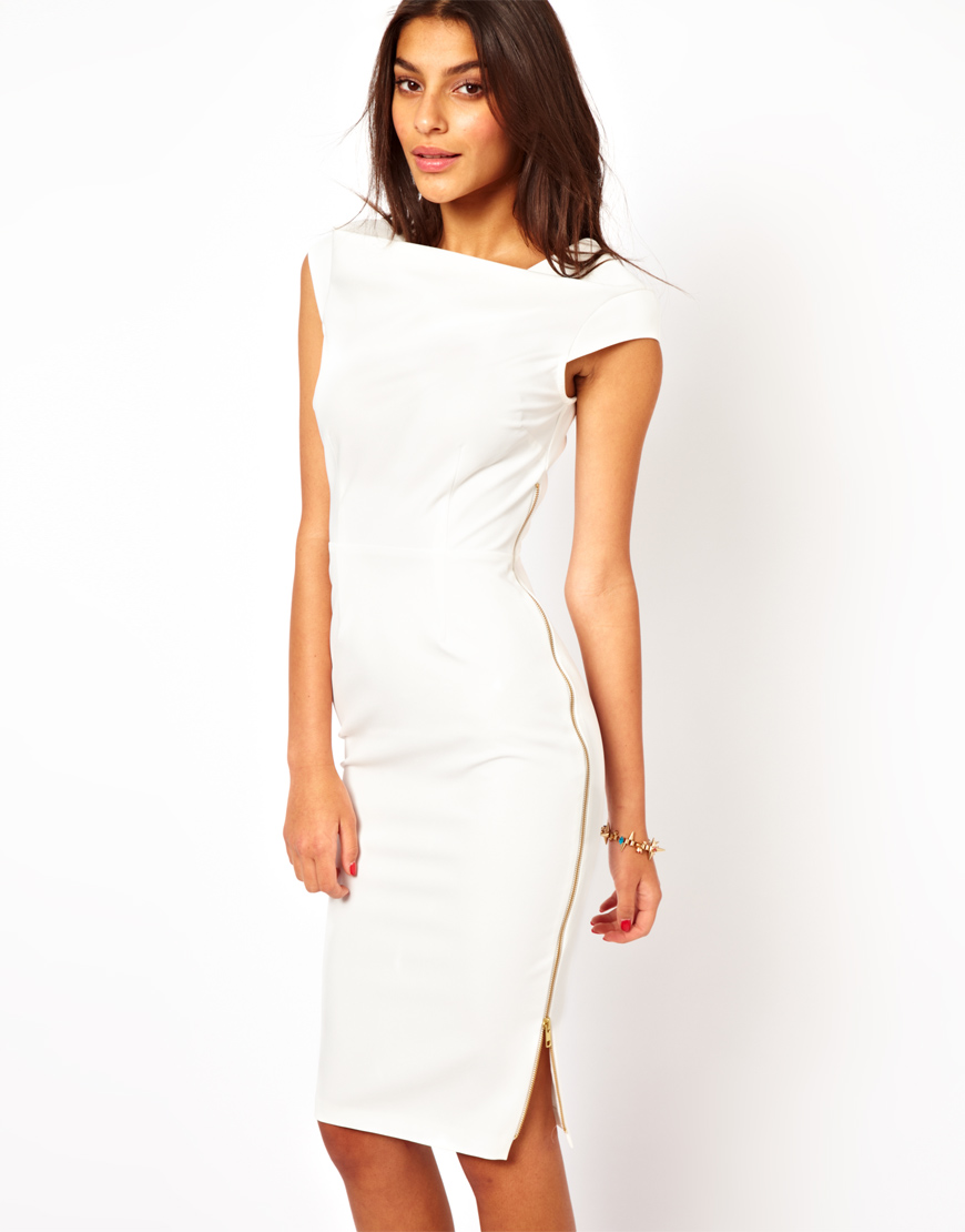 ASOS Pencil Dress with Cowl Neck and Zip Side in Cream ...