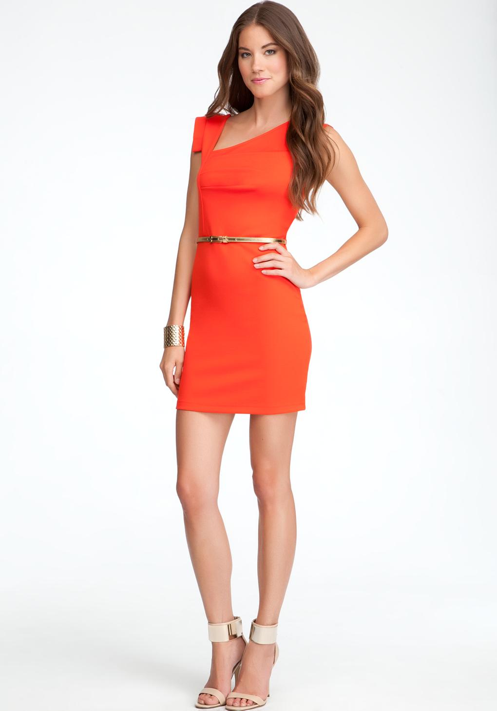 Bebe Eloise Asymmetric Neckline Dress In Red Lyst
