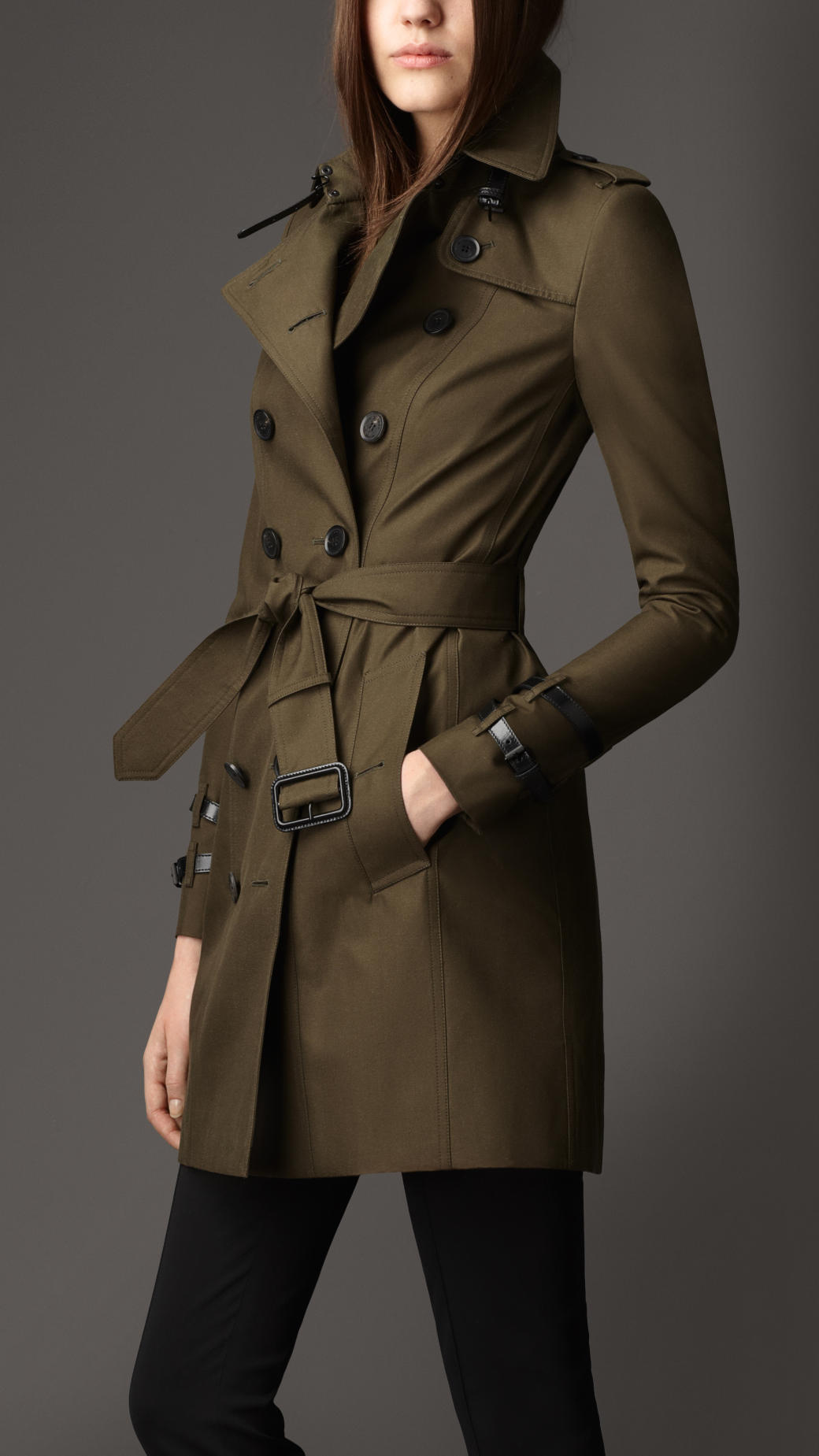 burberry mid length leather detail gabardine trench coat in green lyst. Black Bedroom Furniture Sets. Home Design Ideas