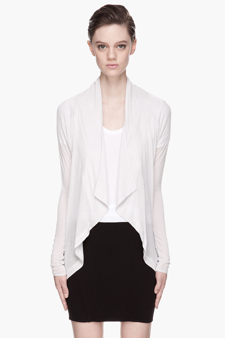 Lyst Helmut Oyster Draping Cocoon Cardigan In White