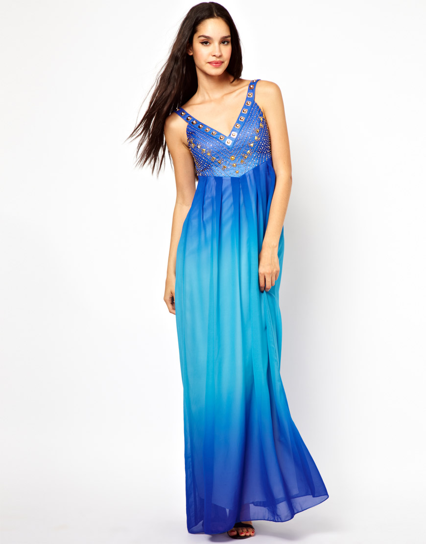 431db9cbed Lyst - Little Mistress Plunge Neck Maxi Dress in Dip Dye in Blue