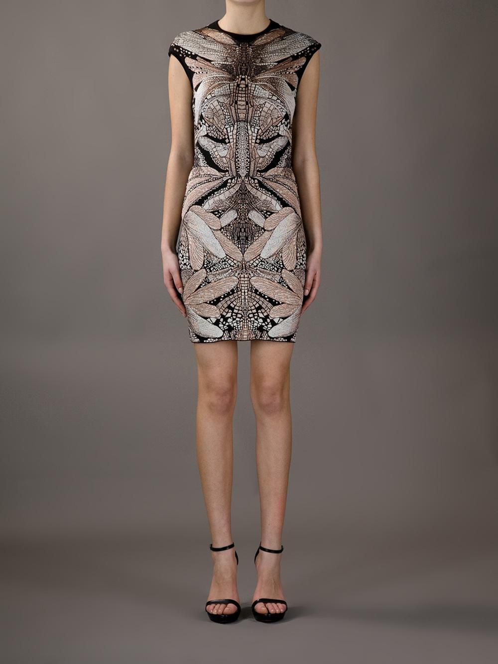 Alexander Mcqueen Dragonfly Print Bodycon Dress In Black