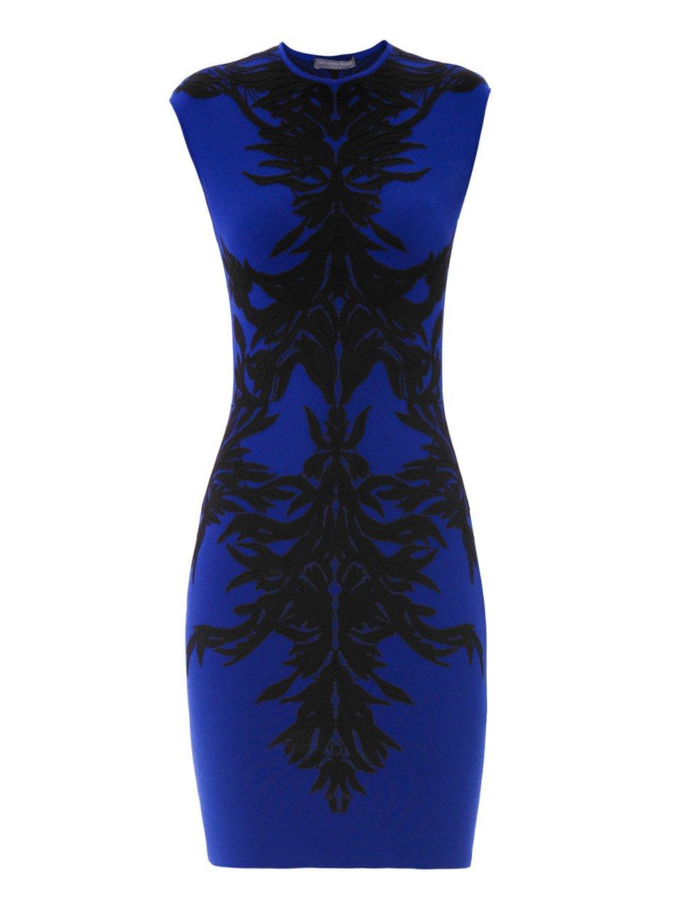 Alexander Mcqueen Spine Lace Jacquard Bodycon Dress In Blue Black Blue Lyst