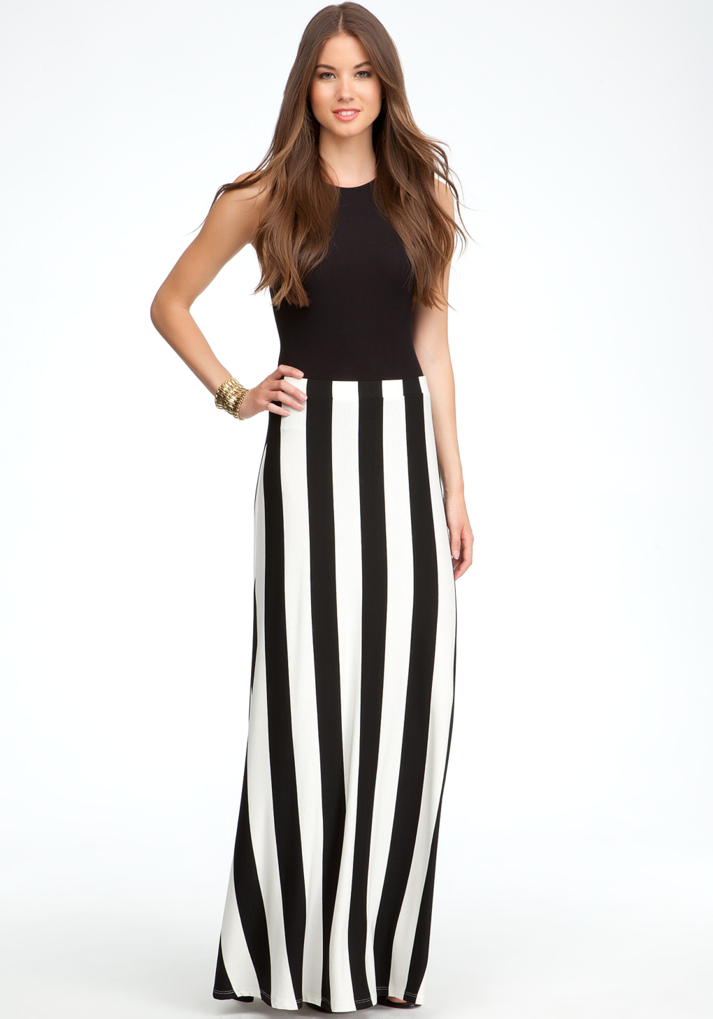 Black And White Striped Maxi Skirt Outfit