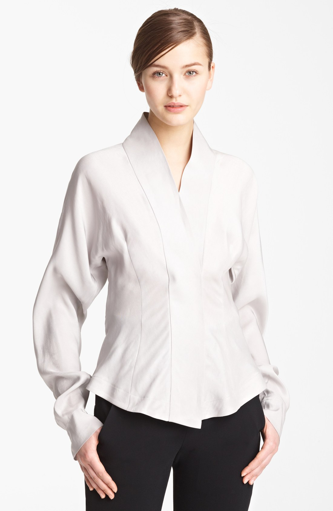White On White Tailored Blouse Lace Henley Blouse
