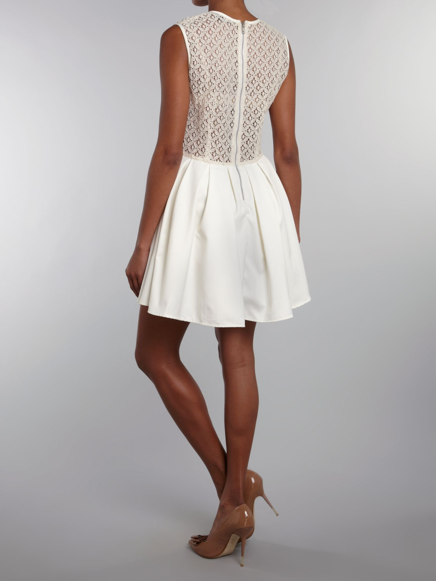 Tfnc Embellished Top Fit And Flare Dress In White Cream