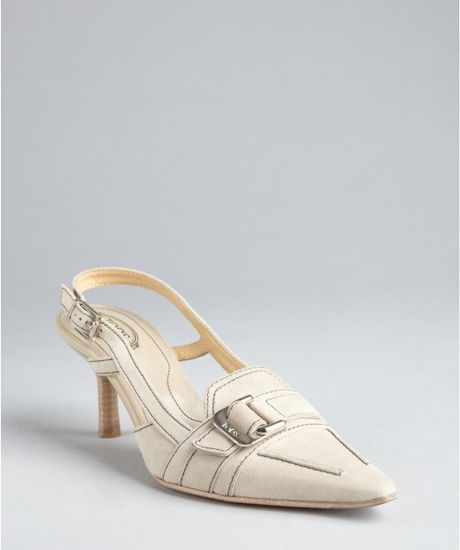 Tods Light Grey Suede Pointed Toe Slingback Loafer Pumps