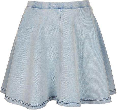 topshop denim look skater skirt in blue light blue