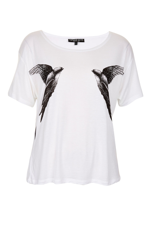 Topshop petite mirror bird tee in white lyst for Petite white tee shirt