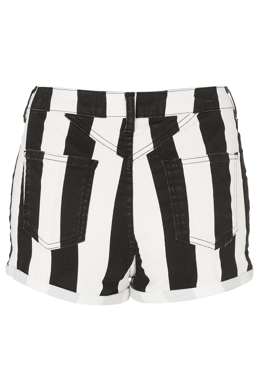 TOPSHOP Petite Wide Stripe Hotpants in White (Black)