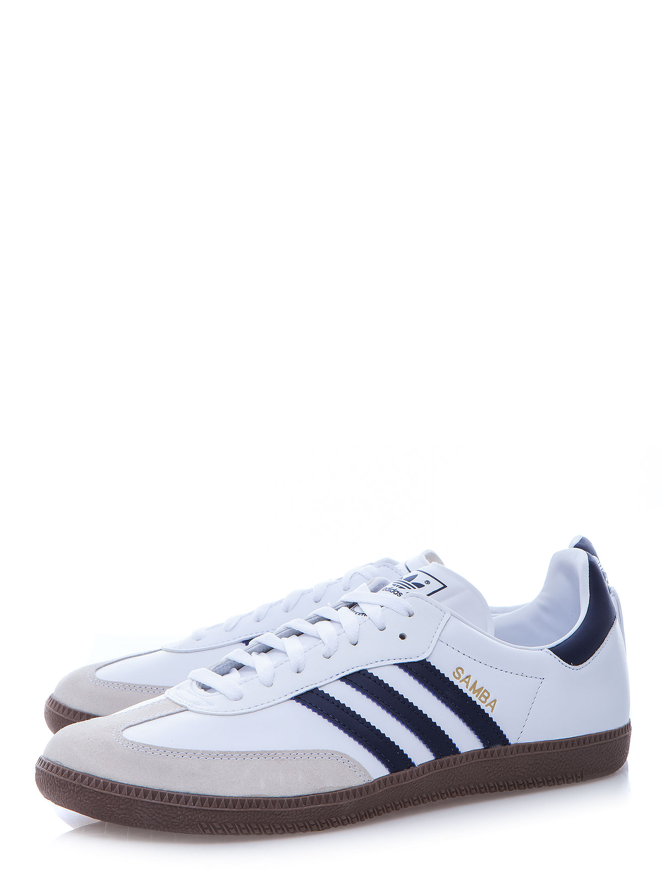 adidas navy striped samba sneaker in white for men lyst. Black Bedroom Furniture Sets. Home Design Ideas