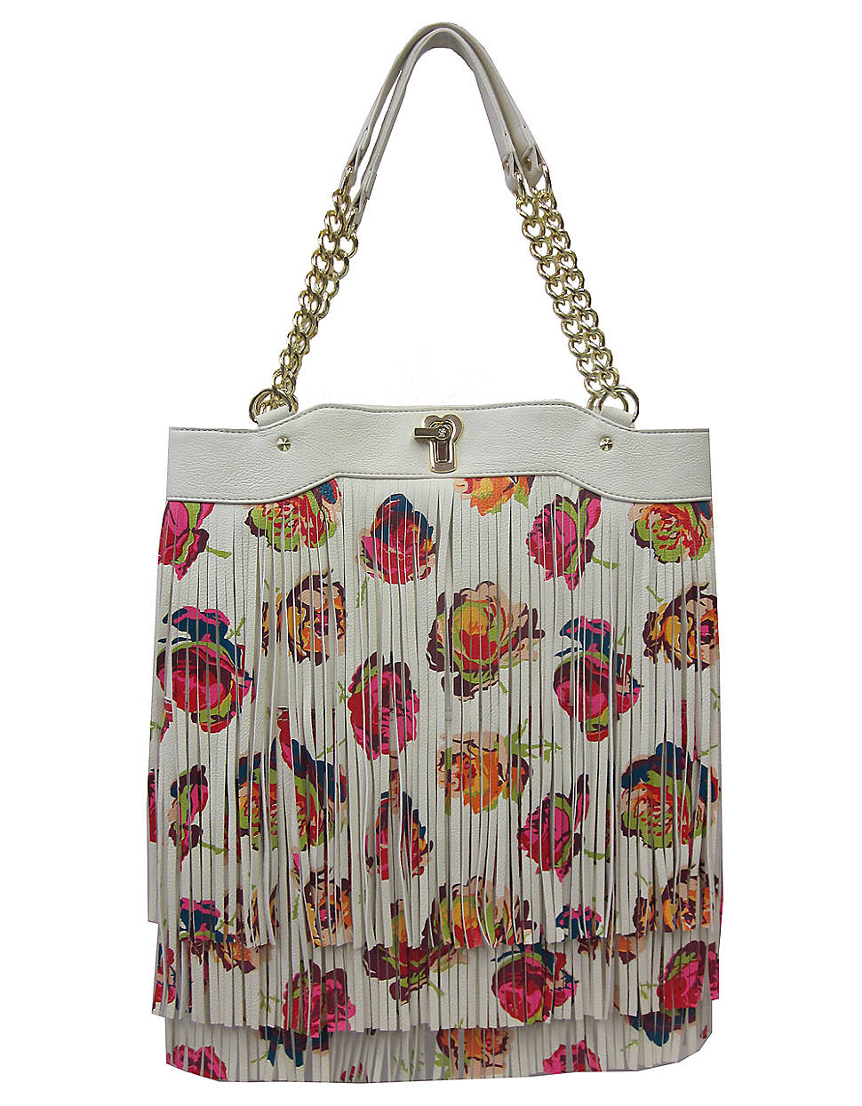 Betsey Johnson Fringy Floral Tote Bag In Gray (cream) | Lyst