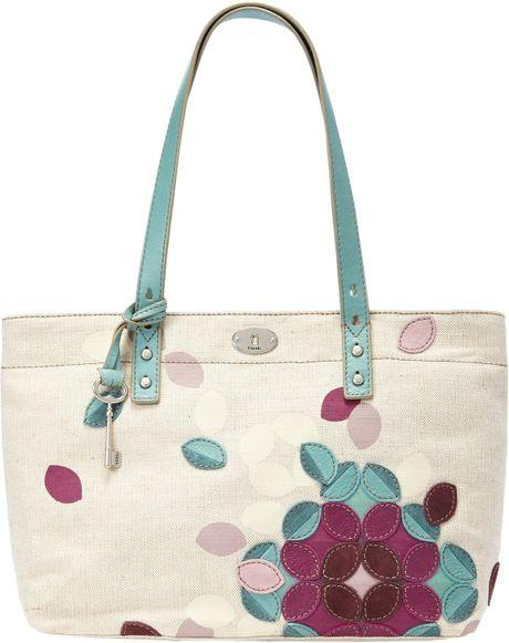 Fossil Hunter Novelty Flower Canvas Shopper Handbag in Multicolor ( cream/purple)