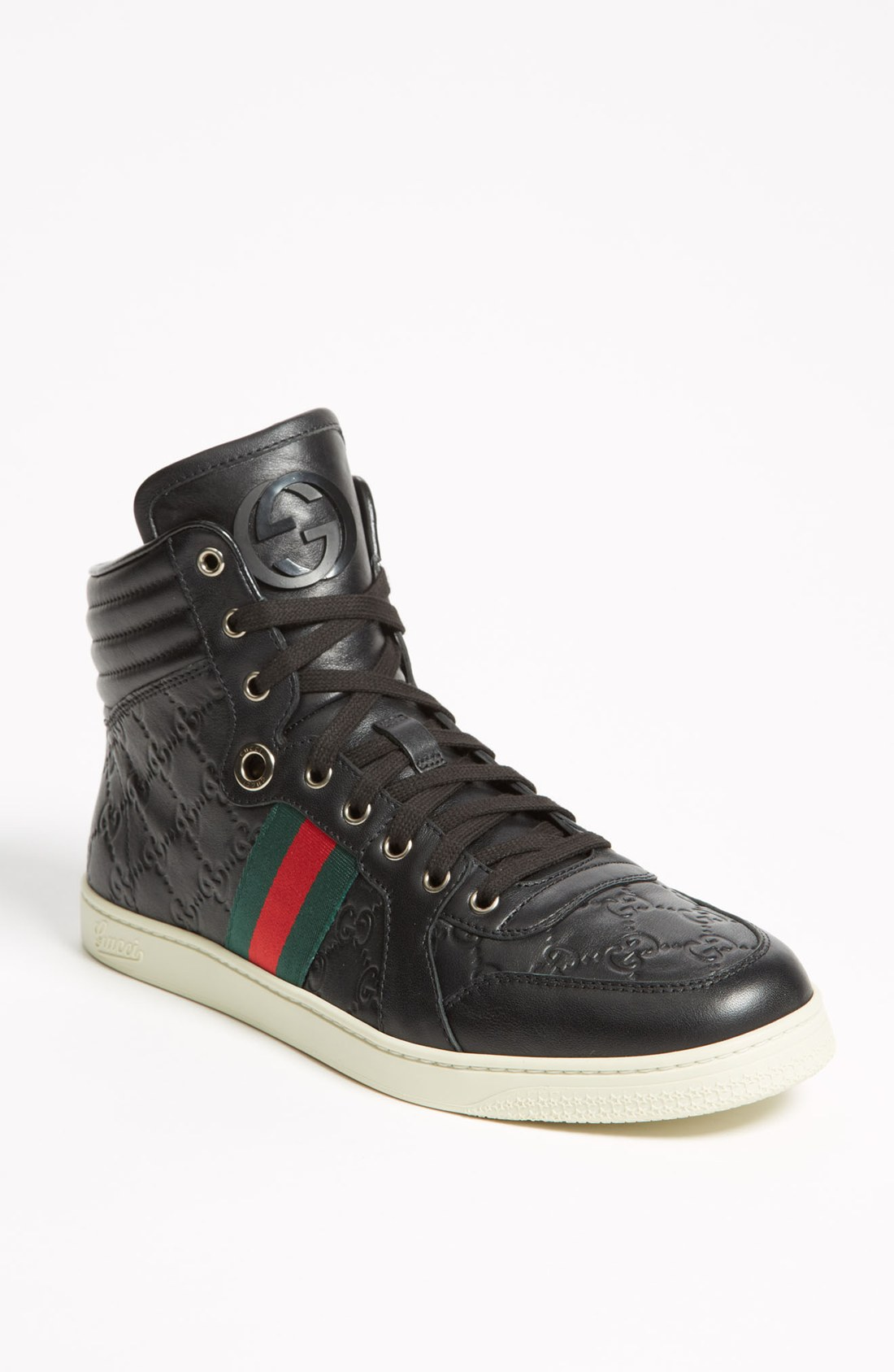 gucci brown ssima leather high top sneaker in black for men lyst. Black Bedroom Furniture Sets. Home Design Ideas